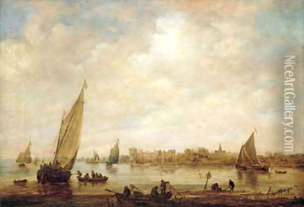 A River Landscape, With Fishermen And Small Vessels , And A Distant View Of Rupelmonde Castle, Seen From Across The River Schelde Oil Painting - Jan van Goyen