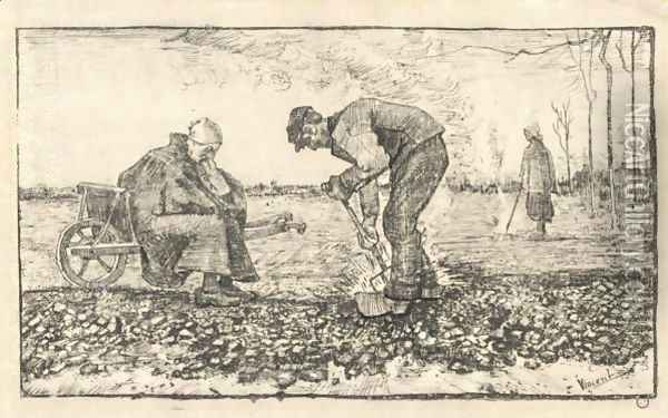 Travail Des Champs (Burning Weeds) Oil Painting - Vincent Van Gogh