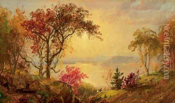 Lake Scene With Hikers In Vale Oil Painting - Jasper Francis Cropsey