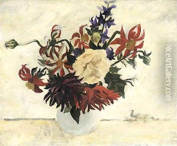 Flowers In A White Pot Oil Painting - Christopher Wood
