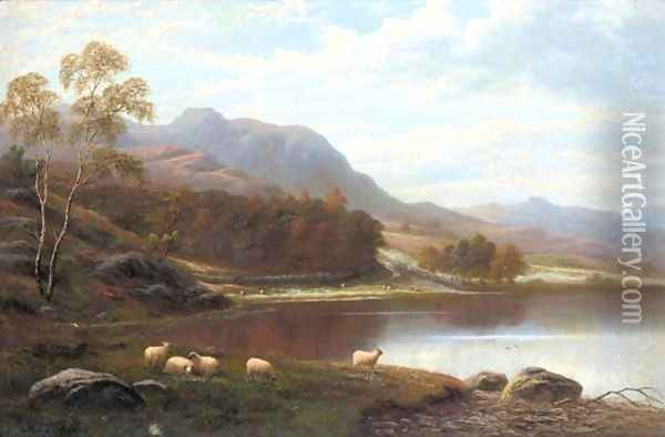 Loughrigg From Rydal Lake, Westmoreland Oil Painting - William Mellor