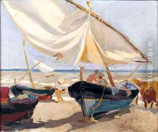 Barcas En La Playa (Boats On The Beach) Oil Painting - Joaquin Sorolla Y Bastida