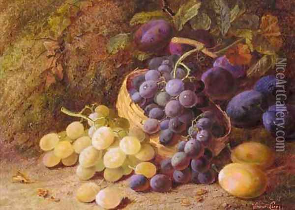 Still Life With Grapes And Plums Oil Painting - Vincent Clare