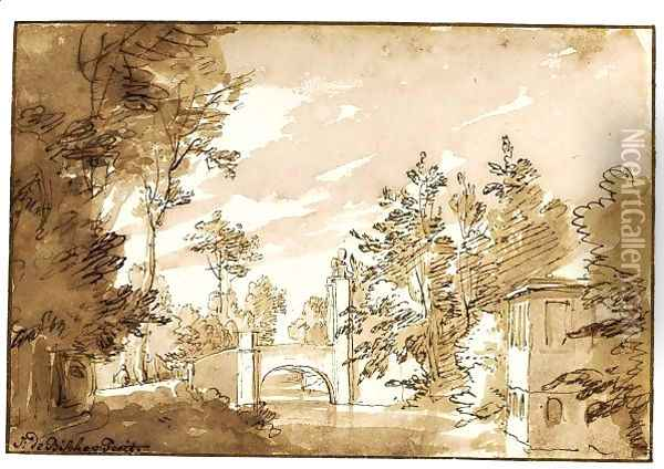 Landscape With A Bridge Over A Canal The Entrance To The House Of Werve, Near Rijswijk Oil Painting - Jan de Bisschop