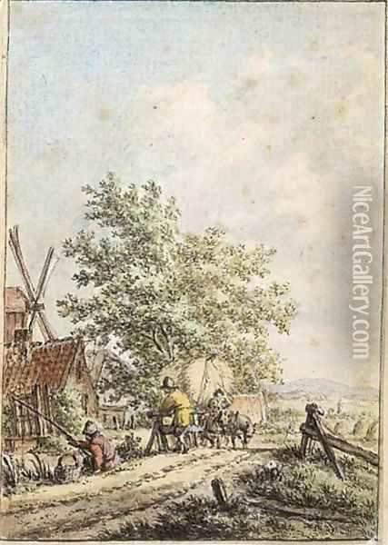 Summer Landscape With A Fisherman And Other Figures By A Farm Oil Painting - Jacob Cats
