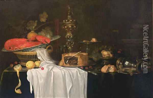 A Sumptuous Still Life With A Lobster In A Wan-Li Kraak Porcelain Bowl In A Basket Together With Grapes, Cherries And Lemons, A Flute, A Silver Beaker, A Silver-Gilt Cup With Cover, A Pie, A Silver Tazza With Peaches, Figs, Cherries And Hazelnuts Oil Painting - Andries Benedetti