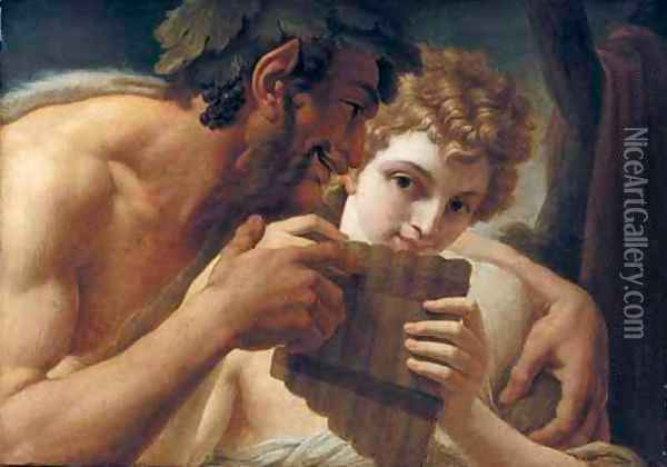 Pan And Apollo Oil Painting - Vincenzo Camuccini