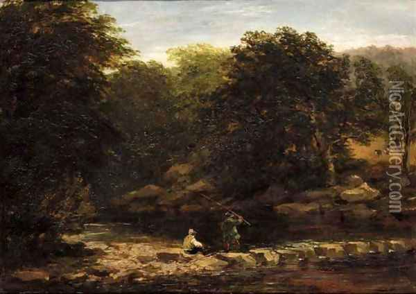 Stepping Stones Oil Painting - David Cox