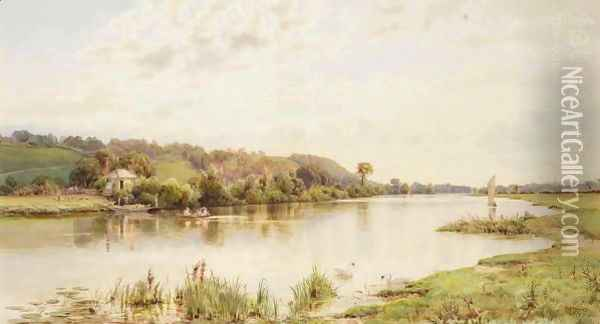 The Thames At Marlow Oil Painting - William Bradley