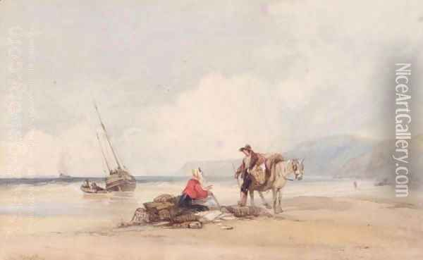 Conversation On The Beach Oil Painting - Charles Bentley