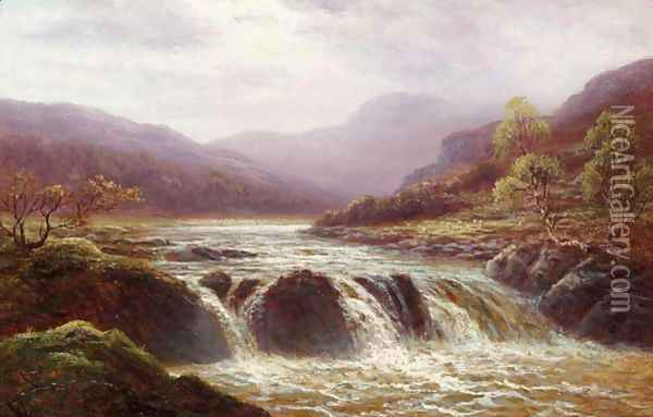 Falls On The Llugny, North Wales Oil Painting - William Mellor
