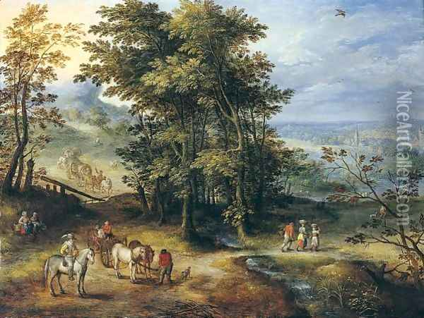 An Extensive Wooded Landscape With Travellers On A Path Oil Painting - Joseph van Bredael