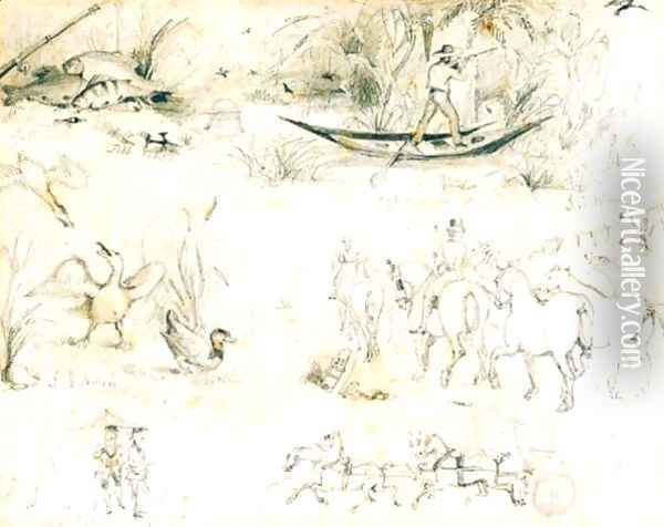 Two Pages Of Sketches Oil Painting - Sir John Everett Millais
