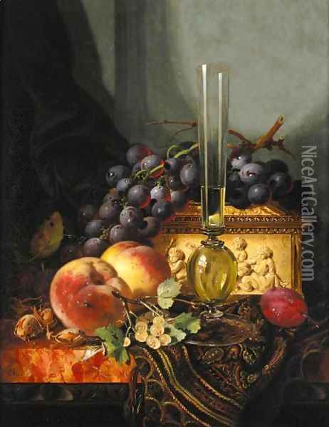 Still Life With Peaches, Grapes, Hazelnuts And A Plum With A Wine Glass And A Casket Oil Painting - Edward Ladell