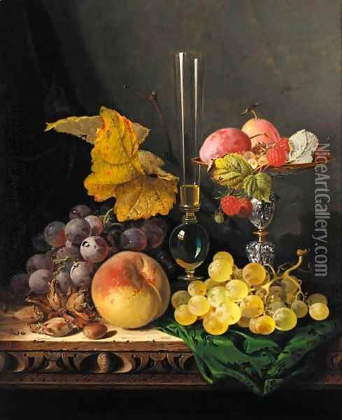 Still Life With Peaches Grapes Hazelnuts Raspberries And Plums With A Wine Glass Oil Painting - Edward Ladell