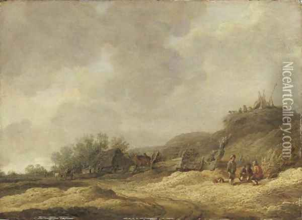Chaumiere Dans Un Paysage De Dunes Avec Des Promeneurs circle Of Jan Van Goyenfigures Near A Cottage Oil Painting - Jan van Goyen