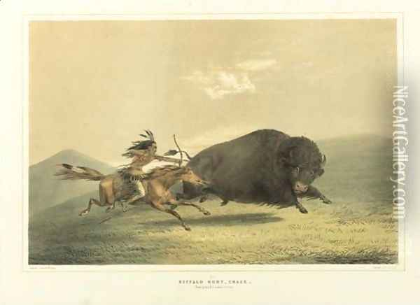 Buffalo Hunt, Chase And Antelope Shooting Oil Painting - George Catlin