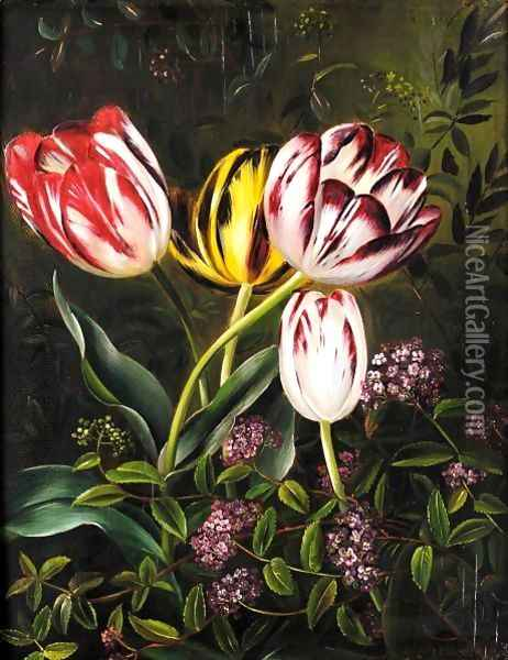 Tulipaner (Tulips) Oil Painting - Johan Laurentz Jensen