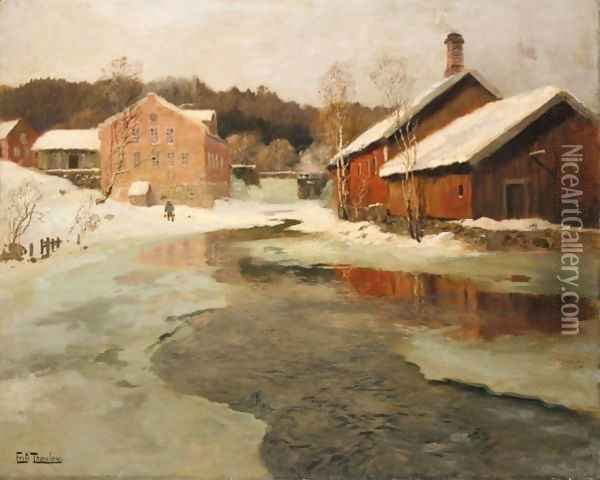 Vintersol (Winter Sun) Oil Painting - Fritz Thaulow