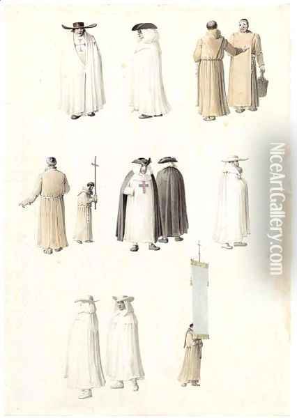 A Sheet Of Studies Of Monks And Clerics, Including Carthusians And Franciscans Oil Painting - Joseph Augustus Knip