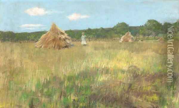 Grain Field, Shinnecock Hills Oil Painting - William Merritt Chase
