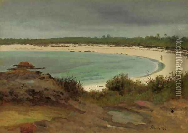 Cove With Beach And Church Oil Painting - Albert Bierstadt