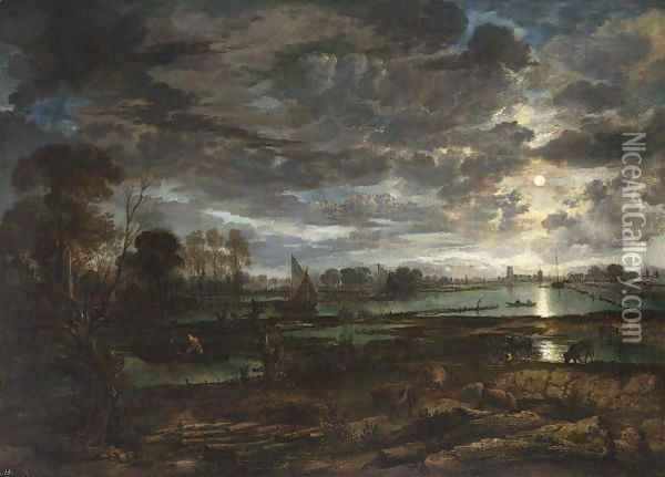 An Extensive River Landscape By Moonlight With Fishermen And Cows In The Foreground Oil Painting - Aert van der Neer
