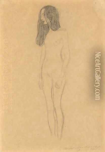 Madchenakt (Nude Female Figure) Oil Painting - Gustav Klimt