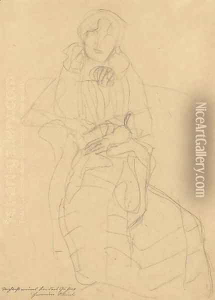 Seated Lady From The Front, Study For The Portrait Of Marie Henneberg Oil Painting - Gustav Klimt