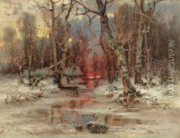 Forest Clearing Oil Painting - Iulii Iul'evich (Julius) Klever