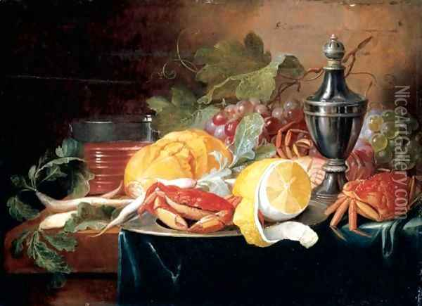 A Still Life With Grapes, A Lemon, Crabs And Bread Upon Pewter Dishes Oil Painting - Alexander Coosemans