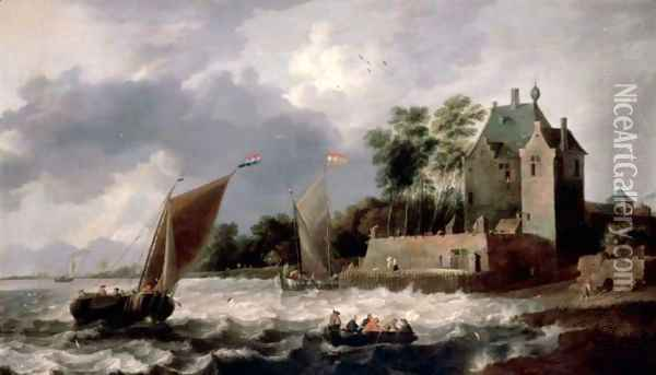 An Estuary Scene, With Rowing Boats And Small Sailing Boats Before A Fortified House Oil Painting - Gilles Peeters