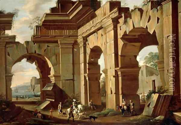 An Architectural Capriccio, With A Huntsman And Riders Among Ruined Arches Oil Painting - Viviano Codazzi