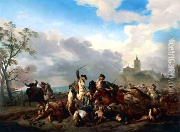 A Battle Scene With Cavalry Skirmishing Before A Walled Town Oil Painting - Jan von Huchtenburgh