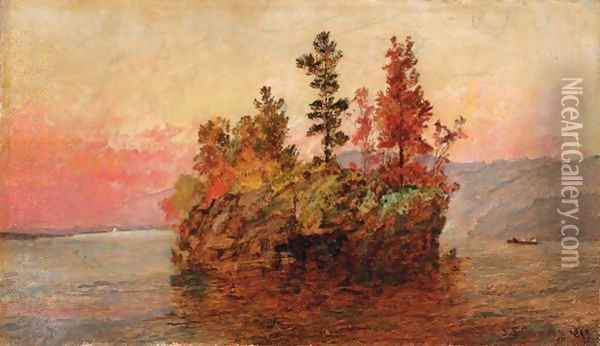 Island In The Hudson Oil Painting - Jasper Francis Cropsey