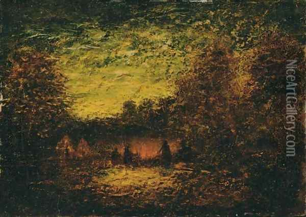 Around The Campfire Oil Painting - Ralph Albert Blakelock