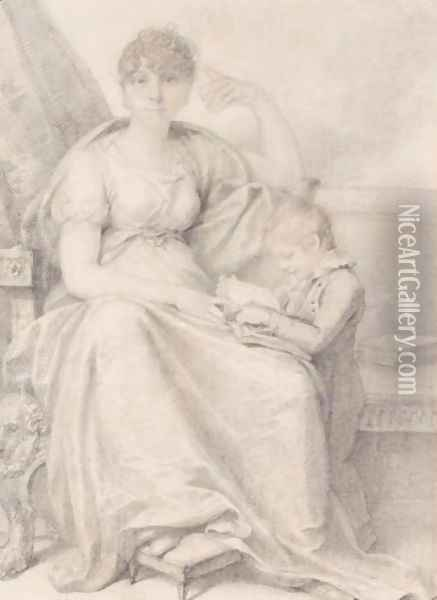 Portrait Of Mrs Woodforde And Her Son Oil Painting - Richard Cosway