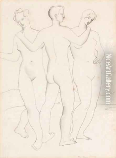 The Three Graces Oil Painting - Christopher Wood