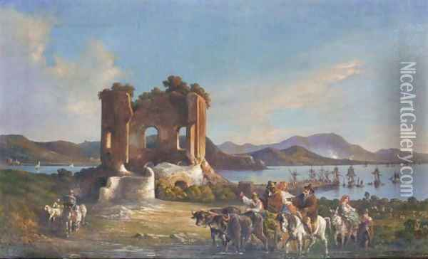 Neapolitan View Oil Painting - Consalvo Carelli