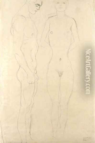 Athlet Im Profil Nach Rechts, Frauenakt Von Vorne (Athlete In Profile Facing Right, Female Nude Seen From The Front) Oil Painting - Gustav Klimt