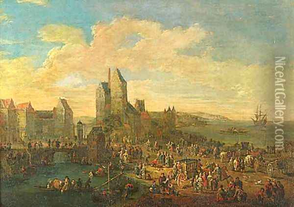 Port Scene With Figures A Pair Oil Painting - Pieter Casteels