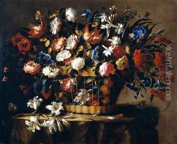 Still Life Of Roses, Irises, Morning Glory, Hyacinths, Chrysanthemums And Carnations In A Wicker Basket, Set Upon A Stone Ledge, Together With A Stem Of Lilies, Butteflies, Dragonflies And A Snail Oil Painting - Juan De Arellano