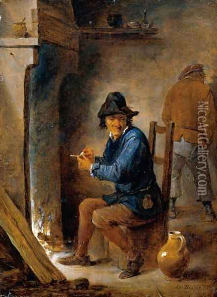 Interior With A Peasant Smoking A Pipe Before A Fireplace Oil Painting - David The Younger Teniers