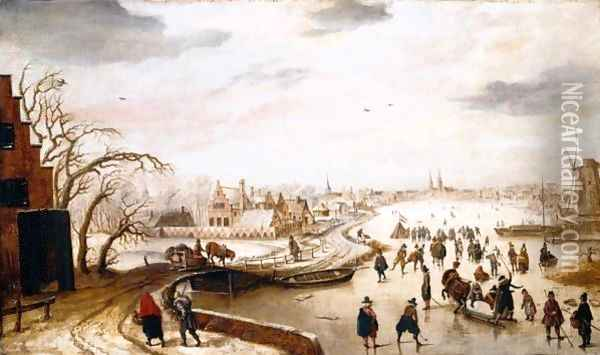 A Winter Landscape With Figures Skating On A Frozen River Oil Painting - Hendrick Avercamp