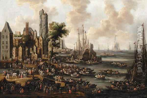 A Harbour Scene With Figures Unloading Their Wares From Boats Oil Painting - Pieter Casteels