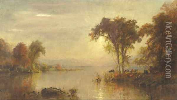 Autumn Splendor On The Susquehanna With Turtles And Cows Oil Painting - Jasper Francis Cropsey