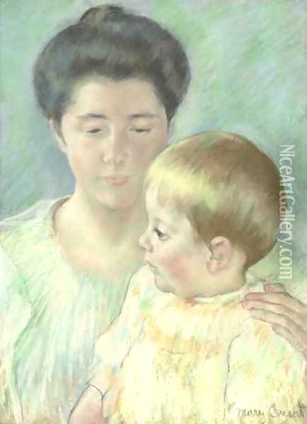 Mother Looking Down At Her Blond Baby Boy Oil Painting - Mary Cassatt