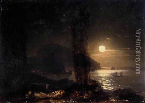 Moon Over The Ayu-Dag Oil Painting - Ivan Konstantinovich Aivazovsky