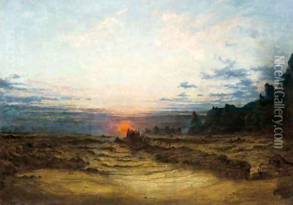 A Wild Seashore At Sunset Oil Painting - Francis Danby
