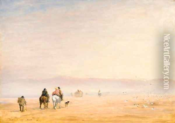 Crossing The Sands Oil Painting - David Cox